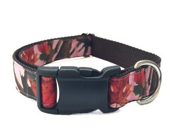 "1"" Real Tree Pink Camouflage Large Dog Collar 