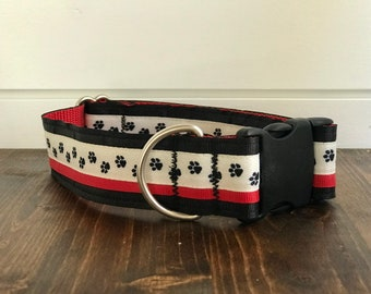 "1.5"" Black & Red Paw Print Dog Collar Buckle or Martingale"