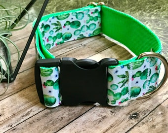 Cactus Wide Dog Collar | Succulent Wide Dog Collar | Wide Quick Release Collar | Wide Martingale Collar | Big Dog Collar