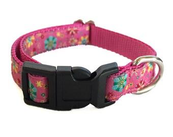 Pink Floral Small Dog Collar | Puppy Collar | Small Dog Leash | Small Dog Harness | Adjustable Dog Collar