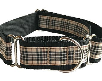 """Tan Plaid Wide Dog Collar   1.5"""" Wide Quick Release Collar   Wide Martingale Collar   Big Dog Collar"""