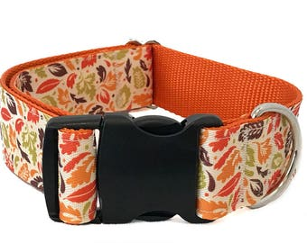 """Fall Leaves Wide Dog Collar   1.5"""" Wide Dog Collar   Wide Quick Release Collar   Wide Martingale Collar   Big Dog Collar"""