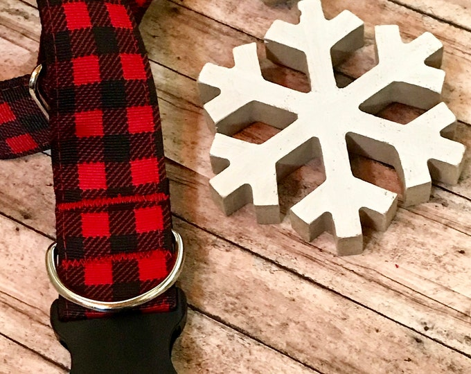 """Featured listing image: Buffalo Plaid Wide Dog Collar 