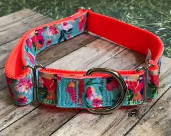 "1"" Turquoise Floral Dog Collar 