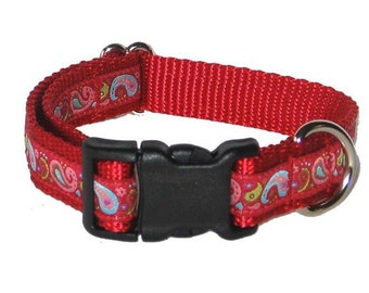 Red Paisley Medium Dog Collar | Martingale Collar | Quick Release Collar | Dog Leash | Dog Harness | Adjustable Dog Collar