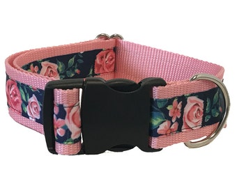 "Pink Rose Wide Dog Collar | 1.5"" Wide Quick Release Collar 