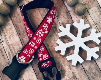 Red Snowflake Large Dog Collar | Quick Release Collar | Martingale Collar | Large Dog Leash | Large Harness