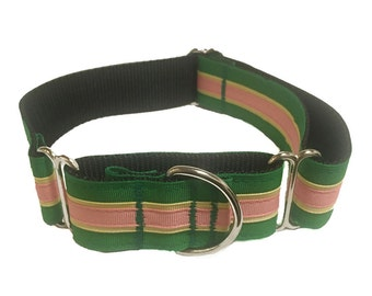 "Green and Pink Striped Wide Dog Collar | 1.5"" Wide Quick Release Collar 