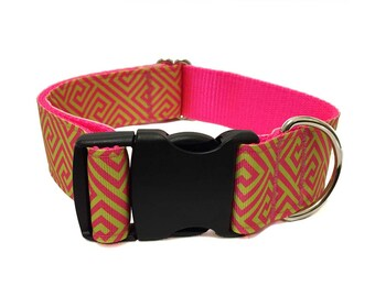 "Greek Key Wide Dog Collar | 1.5"" Wide Quick Release Collar 