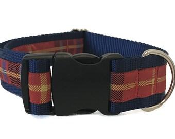Red Plaid Wide Dog Collar | Preppy Plaid Wide Dog Collar | Wide Quick Release Collar | Wide Martingale Collar | Big Dog Collar
