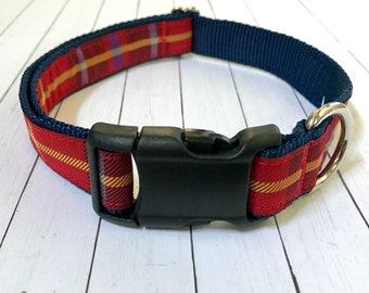 Red Plaid Medium Dog Collar   Martingale Collar   Quick Release Collar   Dog Leash   Dog Harness   Adjustable Dog Collar