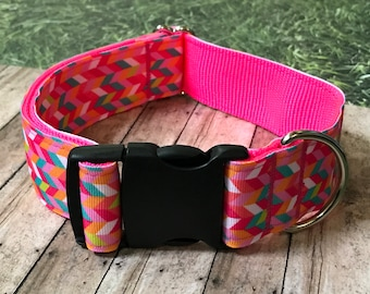 "Neon Pink Wide Dog Collar | 1.5"" Wide Quick Release Collar 
