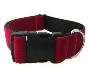 "Red Velvet Wide Dog Collar | 1.5"" Wide Dog Collar 