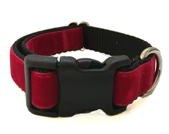 Red Velvet Medium Dog Collar | Martingale Collar | Quick Release Collar | Dog Leash | Dog Harness | Adjustable Dog Collar