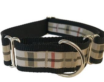 Tan Plaid Wide Dog Collar | Preppy Plaid Wide Dog Collar | Wide Quick Release Collar | Wide Martingale Collar | Big Dog Collar