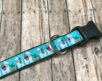 Llama Medium Dog Collar | Martingale Collar | Quick Release Collar | Dog Leash | Dog Harness | Adjustable Dog Collar