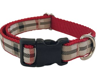 Preppy Tan Plaid Medium Dog Collar   Martingale Collar   Quick Release Collar   Dog Leash   Dog Harness   Adjustable Dog Collar