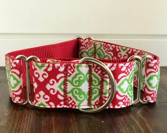 "1.5"" Red & Green Mosaic Dog Collar Buckle or Martingale"