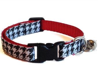 Houndstooth Cat Collar | Bama Cat Collar | Breakaway Cat Collar | Kitten Collar | Safety Collar | Adjustable Cat Collar | Fat Cat Collar