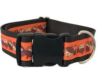 """1.5"""" Happy Acorns Wide Dog Collar Buckle or Martingale"""