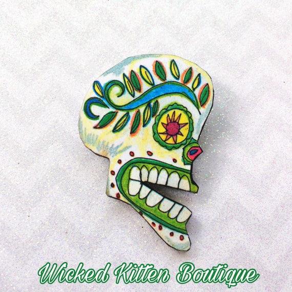Sugar Skull Brooch Skull Pin Day Of The Dead Brooch Day Of Etsy