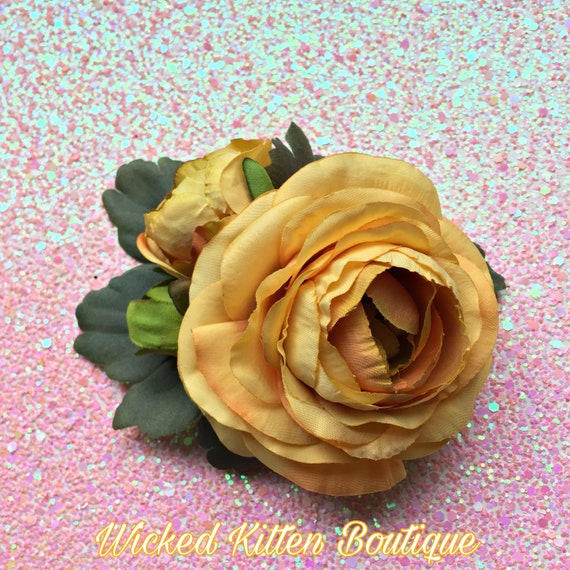 Rose Hair Clip Brooch Velvet PinUp Rockabilly Goth Pink Red Peach White Cream