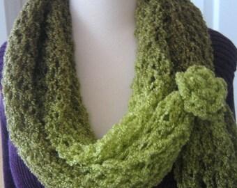 Knit,Green shades, moss, long scarf/shawl,new, OOAK, ready to ship, winter fashion