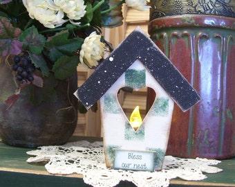 Vintage Birdhouse Tealight Candle Holder; Handpainted Candle Holder by WIlson /& Louis; Birdhouse Decor