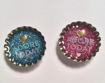 Adore Today bottle cap magnet set