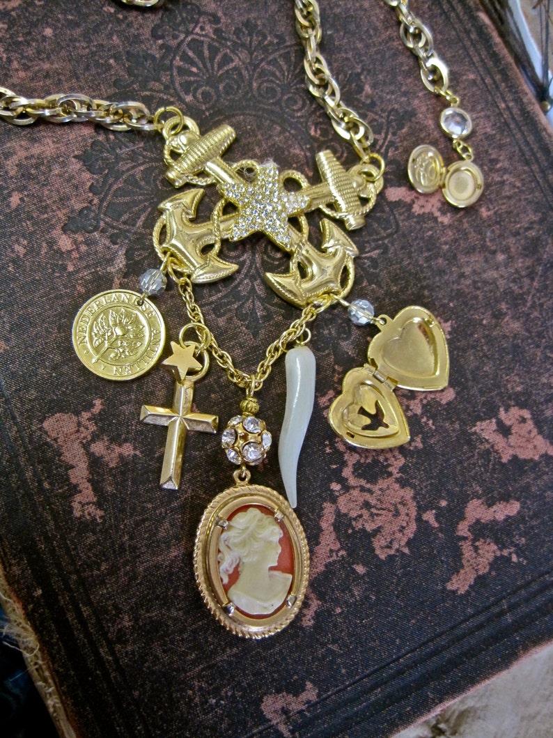 W /& T Vintage Kupfer Blume Strass Vogel Medaillon Anhänger Halskette Kette Sa