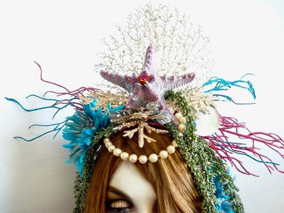 PRECIOUS OCEAN STAR Mermaid Headpiece Headband Mermaid Bride Genuine Starfish Shells Sea Fan Rhinestones Silver Gold Sparkle White Flowers