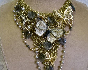 On the Nature of Things: Butterfly Necklace Choker Adjustable Bib Lizard Gecko Gold Pearls Leaves Boho Bride Garden Wedding One of a Kind