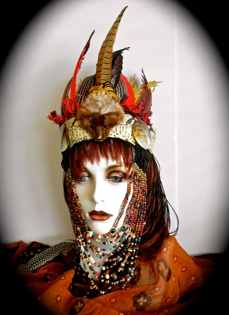 Witch Doctor Headband VOODOO Priest Feather Headpiece Beaded Drape Around  Face Under Chin Vintage Fur Head Pheasant Feathers