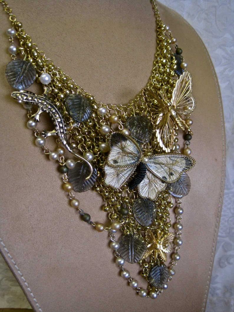 Butterfly Necklace Choker Adjustable Bib Lizard Gecko Gold Pearls Leaves Boho Bride Garden Wedding One of a Kind On the Nature of Things