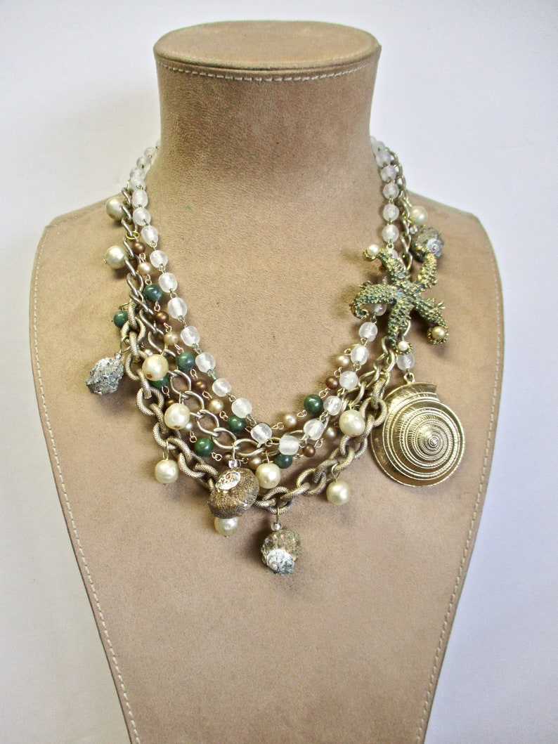 Mermaid Necklace Vintage Assemblage Starfish Brooch Antique Glass Pearls and Beads Genuine Shells Gold Shell Multi Chain An Ocean Star