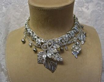 Bridal Necklace ENAMOURED: Rhinestone Choker Crystals Silver Leaves Vintage Assemblage Statement Boho Bride Garden Wedding One of a Kind