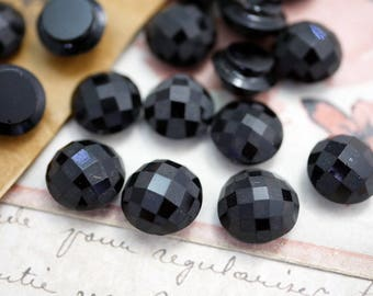 Antique French Victorian Black Mourning Glass Faceted Rhinestone 4.5 to 5mm HD41 30 pcs