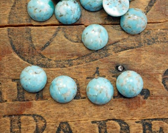 Vintage Cabochon 9mm Glass Turquoise with Matrix Cabochon (4)