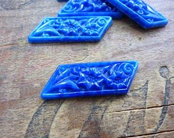 Cabochon Diagonal Lapis Glass Floral Cabochon  Vintage (1)