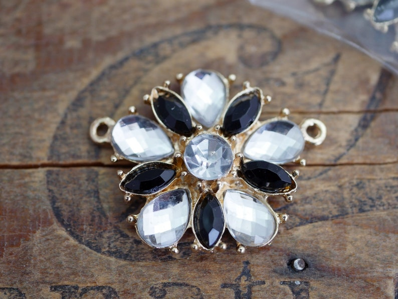 1 pc Black Crystal Gold Rhinestone Link Component Two Loops 30mm R55