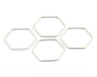 Silver Hexagon Charm, 24 Silver Tone Hexagon Shaped Ring Charms (25x0.8mm) BS 2153