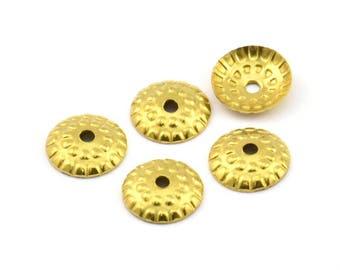 100 Pieces Raw Brass Bead Caps 1869C-U-24 10mm