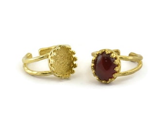 Pad Size 5mm N821 10 Raw Brass Moon And Planet Ring With 1 Stone Setting Brass Ring Settings