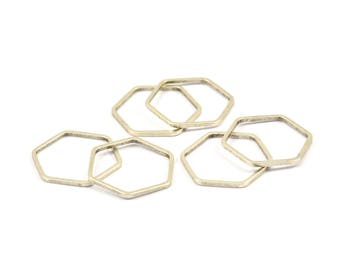 Silver Hexagon Rings, 25 Antique Silver Plated Brass Hexagon Connectors (16x0.80mm) Bs-1165 H541