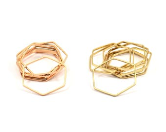Rose Gold / Gold Hexagon Ring  Charm, 24 Rose Gold Plated - Gold Plated Hexagon Shaped Ring Charms (22x0.6x0.9mm) BS 1205 Q015