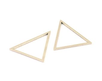 Antique Silver Triangle Charm, 6 Antique Silver Plated Brass Triangles Charms (34x34x27mm) Bs-1306 H483
