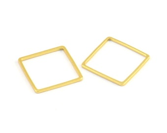 Cubic Square Brass Connector Wedding Jewelry 16K Matte Gold Plated over Brass Square Charm 2pcs  IA0063-MG