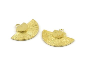 Brass Badge Charm N827 Earrings 28x21mm Pendants 4 Raw Brass Rosette Charms With 1 Loop