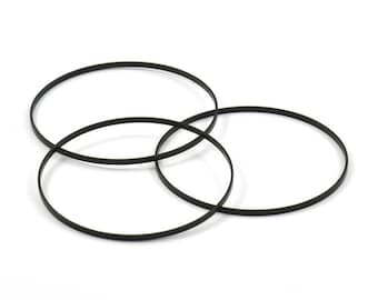Black Circle Connectors, 6 Oxidized Brass Black Circle Connectors (55x0.75x1.8mm) Bs 1073 S231