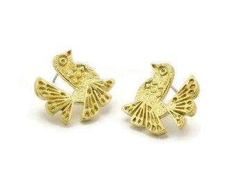 Gold Bird Earring 4 Gold Plated Brass Bird Stud Earrings N1202 16x18mm